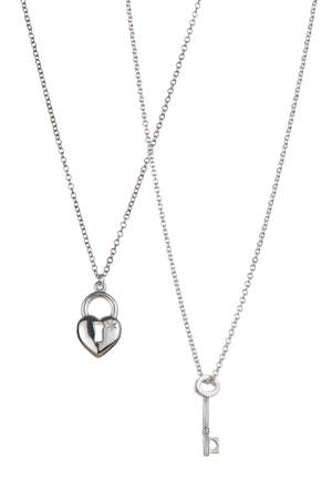 Love You Long lock and key necklace