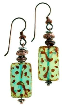 Nickel free earrings with vintage glass pendants