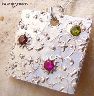 Good Karma Family Stone Pendant in Fine Silver