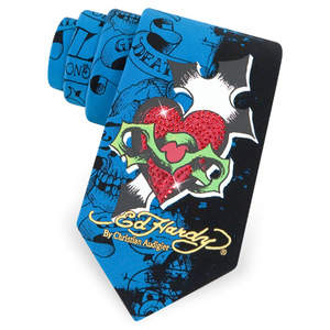 Heart and Dagger Silk Tie by Ed Hardy