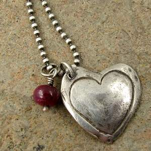 ruby gemstone and heart necklace