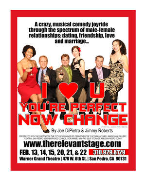 (Photo By John Mattera) Lindsey Mixon, David Meinke, Ray Buffer, Marla McClure, Paul Rorie and Shaina Zalma star in I Love You, You're Perfect, Now Change February 13 to 22 at San Pedro's Warner Grand Theatre