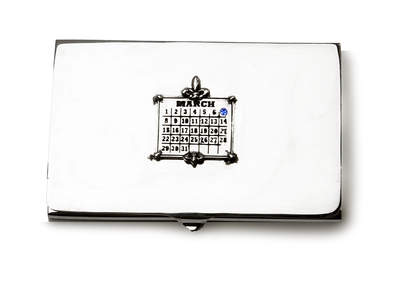 Sterling Silver Business Card Case with Calendar Charm