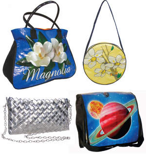 Pictured clockwise from top right is the Jasmine Circle Bag, Galaxy Messenger Bag, Silver Chained to Me Clutch and the Magnolia Cinchy Tote. For additional styles visit www.rebagz.com or call 818-376-0125.