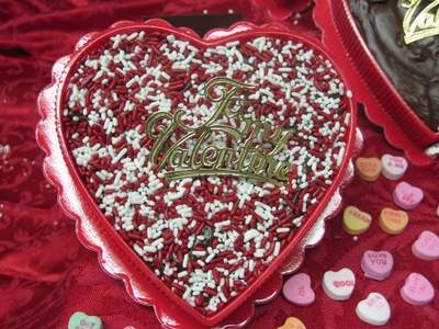 Valentine's Day Chocolate Fudge Heart w/ Sprinkles