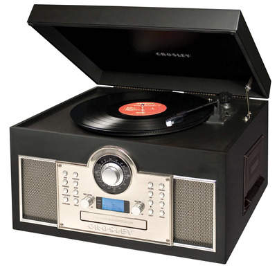 Crosley's CR24001A Memory Master turntable can do it all - burn vinyl to CD in one touch, as well as record your records to digital files with the USB port and included software. Plus, it plays CDs, all record speeds, AM/FM radio, and cassette tapes!