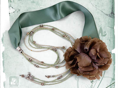 La Vie En Fleur : Layer your neck with this one of a kind handmade couture necklace made with a Moss thick ribbon accented with a flower, Moss green and silver seed beads with silver accents.