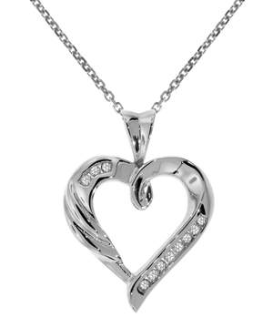 B2C Jewels Silver Diamond Heart Pendant