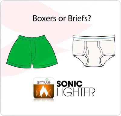Boxers or Briefs? Cast your vote with Smule's Sonic Lighter