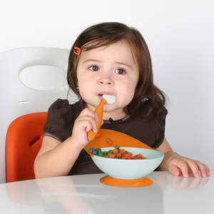 Flexible food catcher works better than a bib