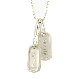 Teeny Tiny Dog Tag and Puffy Heart 14kt Gold