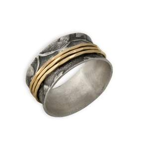 Two-Tone 3 Band Leaf Print Spinner Ring