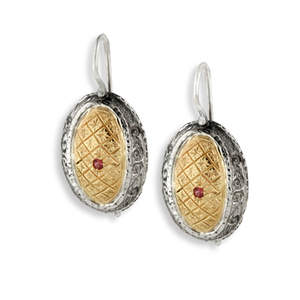 Two-Tone Textures & Tourmaline Earrings