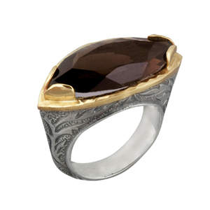 Two-Tone Almond Smokey Quartz Ring