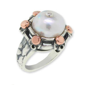 Rose Guarded Pearl Ring