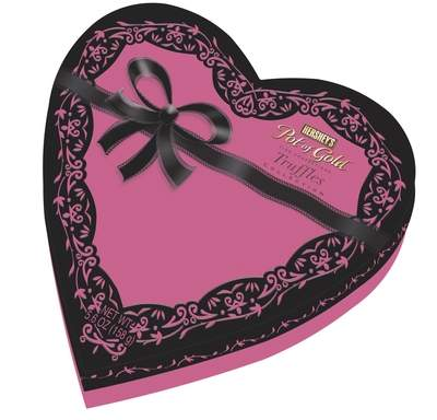 Hershey's Pot of Gold Truffles Collection Milk and Dark Chocolate Designer Pink and Black Lace Heart Box