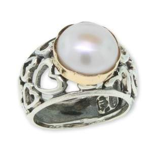 Two-Tone Pearl Heart Ring by David Tishbi