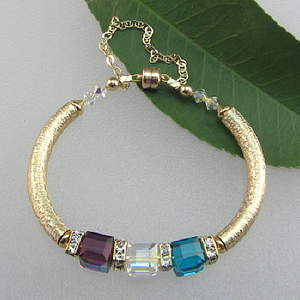 Mother's Crystal Birthstone Bangle Bracelet