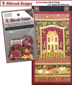 Kansas Song Welcome Panel Pack comes with embellishments and thread.