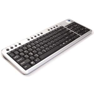 Compact, wireless, 86-key trackball keyboard is ideal for multimedia and presentations