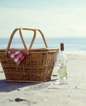Outdoor picnic with wine.