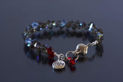 Heart of Hope ALS Crystal Bracelet - 25 percent of purchase price goes to the ALS Foundation