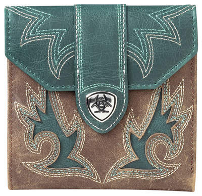 Ariat Manzanita French Wallet in Brown Bomber/Teal