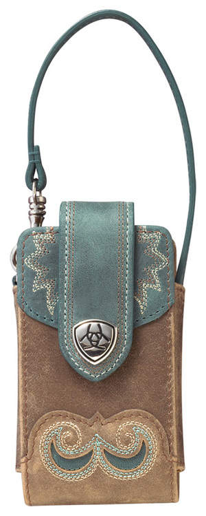 Ariat Manzanita Cell Phone Case in Brown Bomber/Teal
