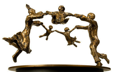 Dancing Family of 5, Bronze Sculpture by Mimi Sammis 12 x 12 x 13