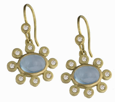 Blue Topaz and Diamond Flower Earrings
