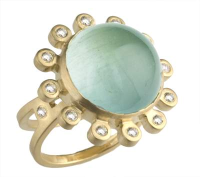 Diamond Disk Aquamarine RIng