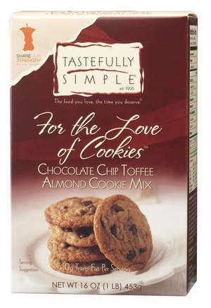 Tastefully Simple donates $1 from the sale of every box of For the Love of CookiesTM Chocolate Chip Toffee Almond Cookie Mix to Share Our Strength – the leading national organization working to end childhood hunger in America.