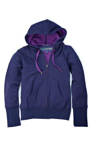 Women's Full Zip Sweatshirt in Shadow Grey + Fushia