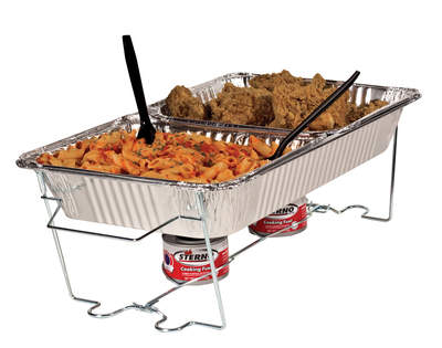 Sterno's Full-Size Buffet Kit is 8 pieces with 2 cans of Sterno gel fuel and serving utensils