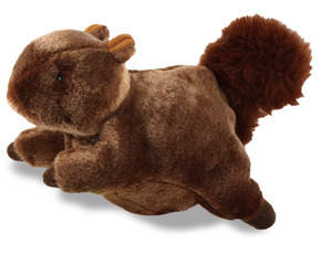 Nutty Squirrel: Switch on your dog's excitement and energy level with this jittery, jumpy plush squirrel toy.