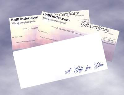 BnBFinder Travel Gift Certificates
