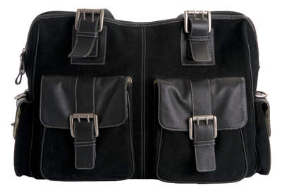jill-e designs large black suede camera bag