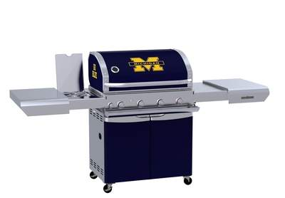 The Team Grill™ Patio Series MVP in Michigan Wolverines colors and logos