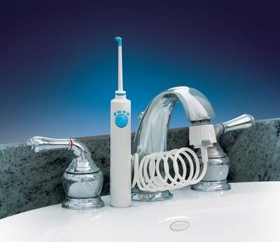 ProFloss Dental Waterjet attaches easily to the faucet