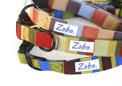 Zobo collars (top to bottom) in Beach, Indian Summer, and Sky & Earth