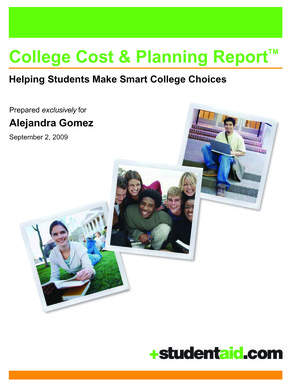 StudentAid.com's College Cost & Planning Report TM