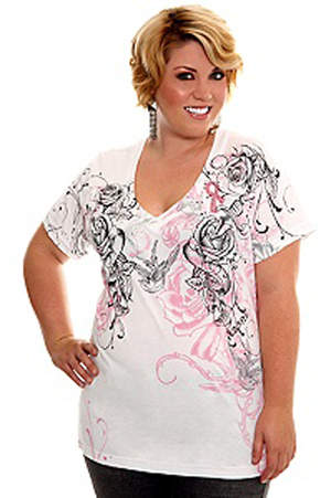 L.A. Ink White Rose Pink Ribbon V-Neck Tee