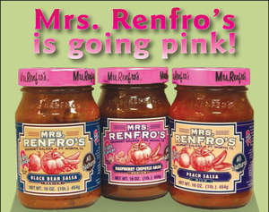Mrs. Renfro's pink-lid gourmet salsas help support breast cancer research