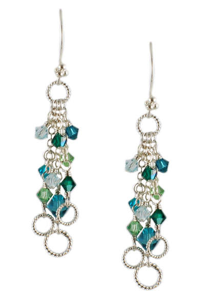 Blue and Green Crystal Awareness Earrings