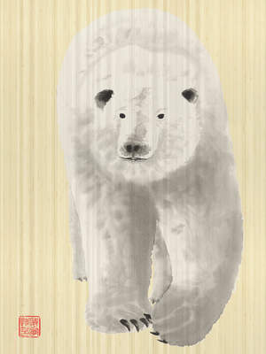 Polar Bear Brush Painting by Wyland on Sustainable Bamboo