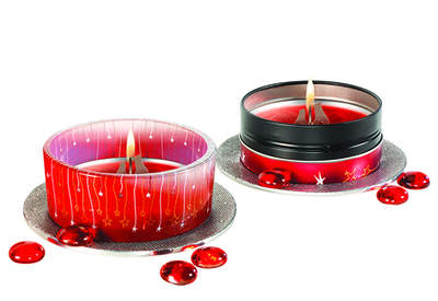 Glade® Scented Oil Candle decorative glass holder and Glade® Scented Oil Candle tin in Apple Cinnamon