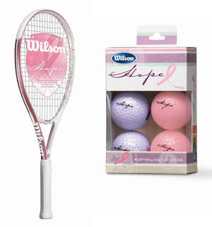 Wilson HOPE Tennis Racket and Wilson HOPE 6-Pack Golf Balls