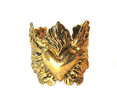 Perry Gargano Sacred Heart Cuff In Gold