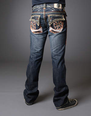 Men's Balboa Beach Embroidered Pocket With Crystals and Double Hand Stitch Orange and Yellow Straight Leg Denim