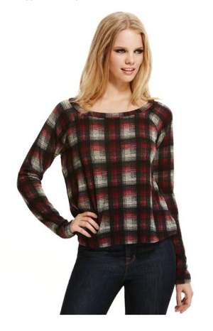 Vintage Havana Plaid Zipper-Back Top